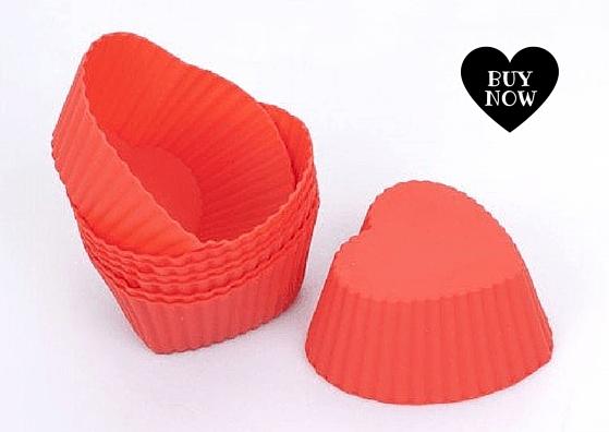 Moldes en silicona para cupcakes o muffin en forma de corazon