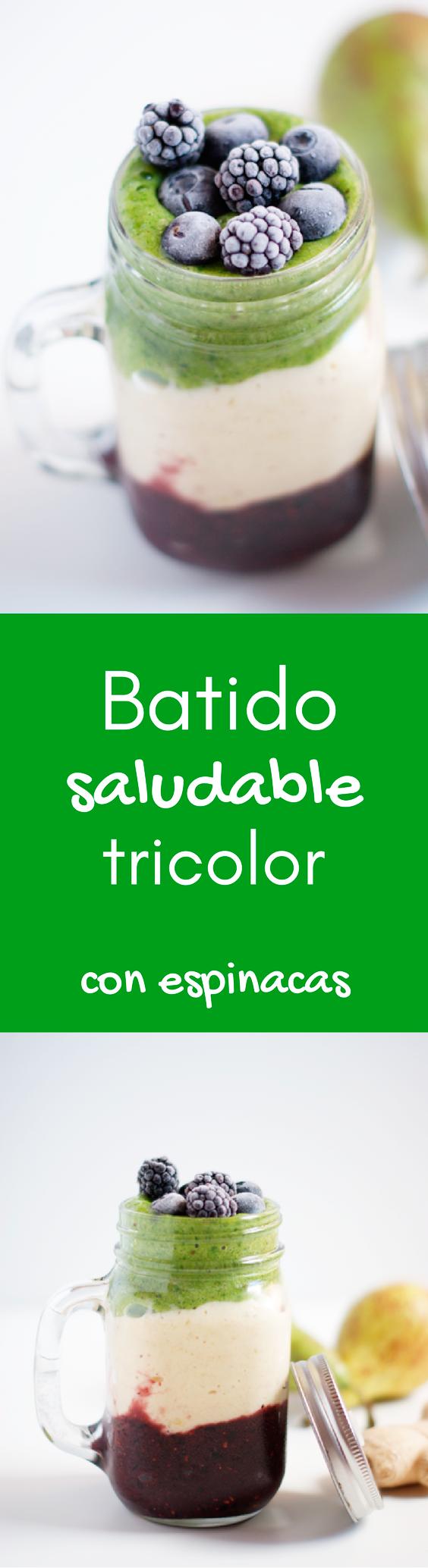 Batido de frutas tricolor con espinacas - Receta de brunch saludable