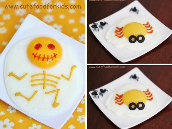 Recetas halloween brunch saludable-huevo araña y huevo esqueleto