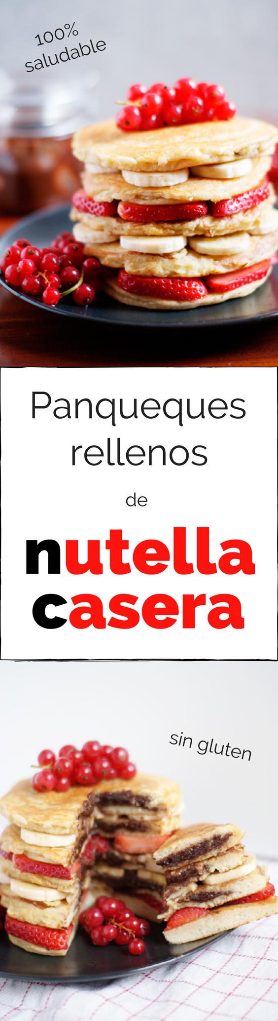 Panqueques saludables rellenos de nutella casera - Receta de brunch saludable