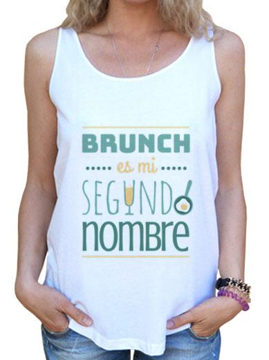 """Camiseta mujer brunch lover """"Brunch es mi segundo nombre"""" - color sobre blanco"""