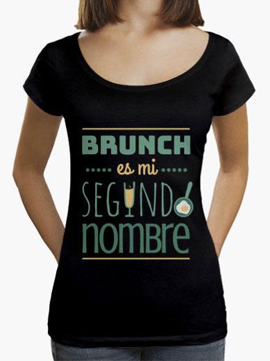 """Camiseta mujer brunch lover """"Brunch es mi segundo nombre"""" - color sobre negro"""