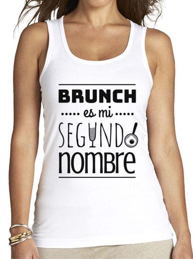"""Camiseta mujer brunch lover """"Brunch es mi segundo nombre"""" - negro sobre blanco"""