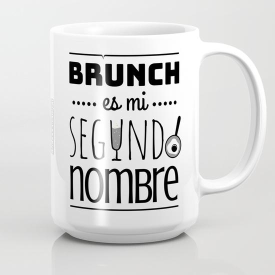 """Taza 450 ml """"Brunch es mi segundo nombre"""" B/N"""