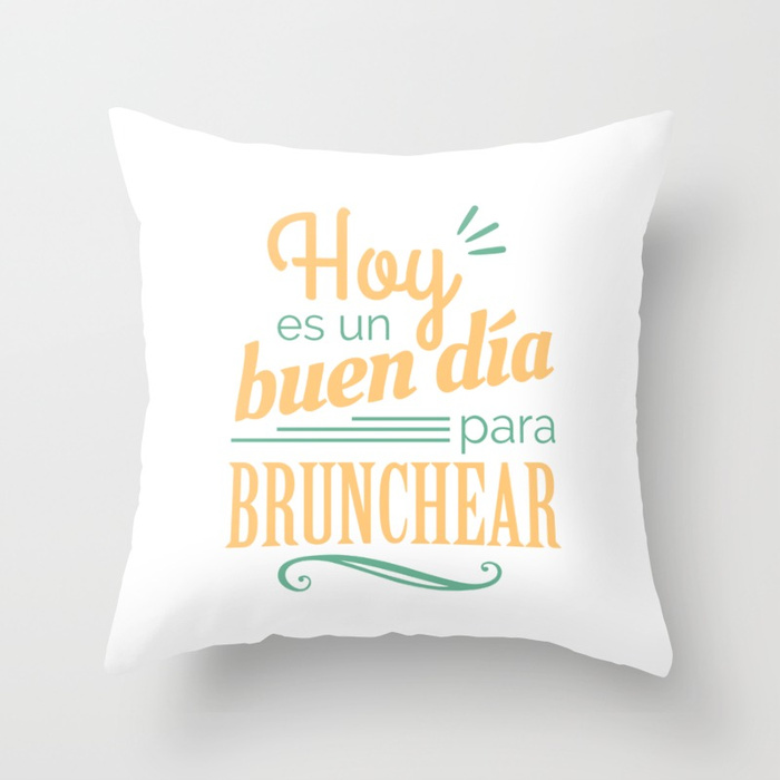 Cojín regalo para brunch lover - Hoy es un buen día para brunchear - Blanco y color