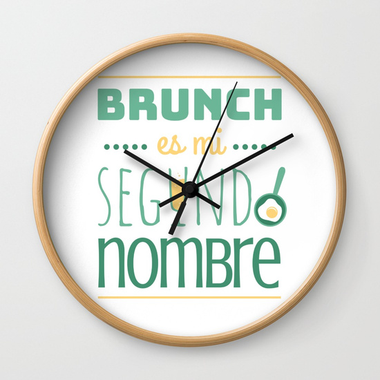 Reloj pared regalo para brunch lover - Brunch es mi segundo nombre - Blanco y color