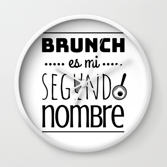 Reloj pared regalo para brunch lover - Brunch es mi segundo nombre - Blanco y negro
