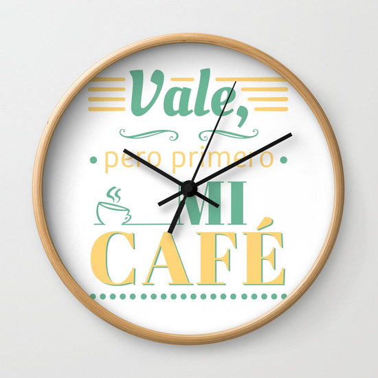 Reloj pared regalo para brunch lover - Vale, pero primero mi café - Blanco y color