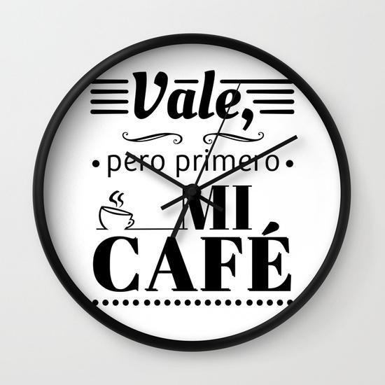 Reloj pared regalo para brunch lover - Vale, pero primero mi café - Blanco y negro