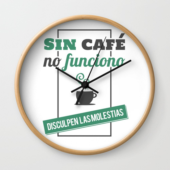 Reloj pared regalo para brunch lover - Sin café no funciono, disculpen las molestias - Blanco y color